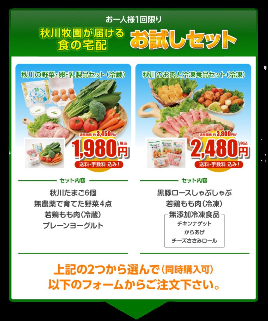 秋川牧園「食の宅配お試しセット」