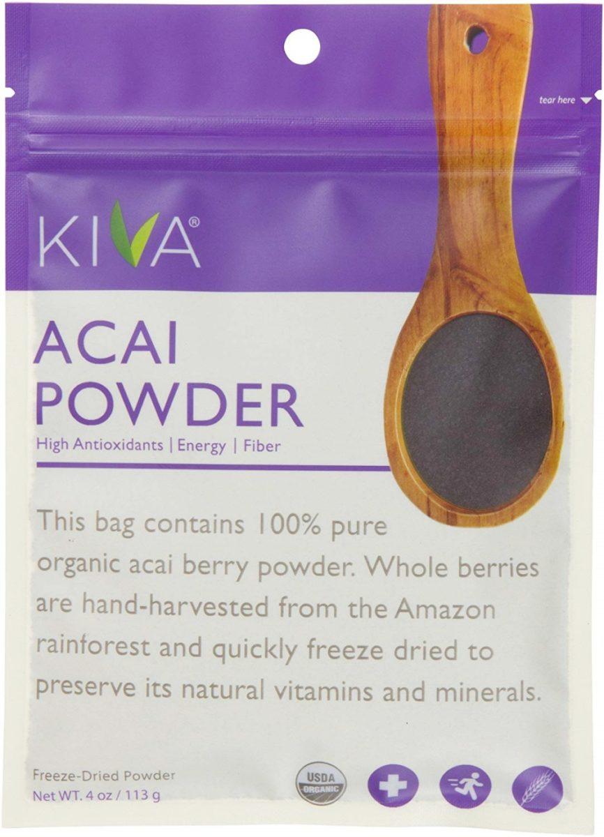 Kiva オーガニック・アサイベリーパウダー – 非遺伝子組換え、未精製、ビーガン (113g 入りの袋)